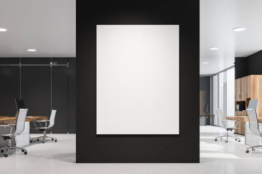 Business center interior with poster