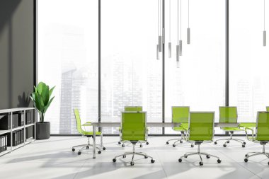 Interior of office meeting room with gray walls, tiled floor, panoramic windows and glass table with green chairs. Bookshelves with folders. 3d rendering stock vector