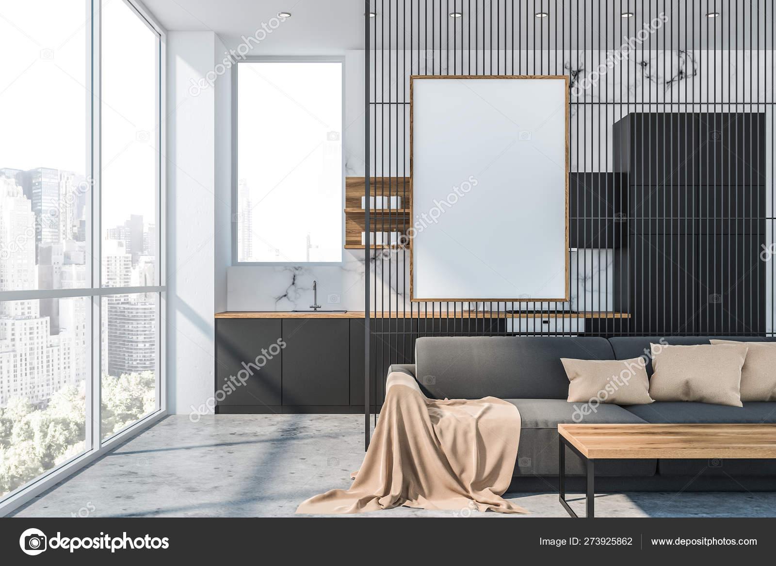 White Marble Living Room And Kitchen Poster Stock Photo C Denisismagilov 273925862