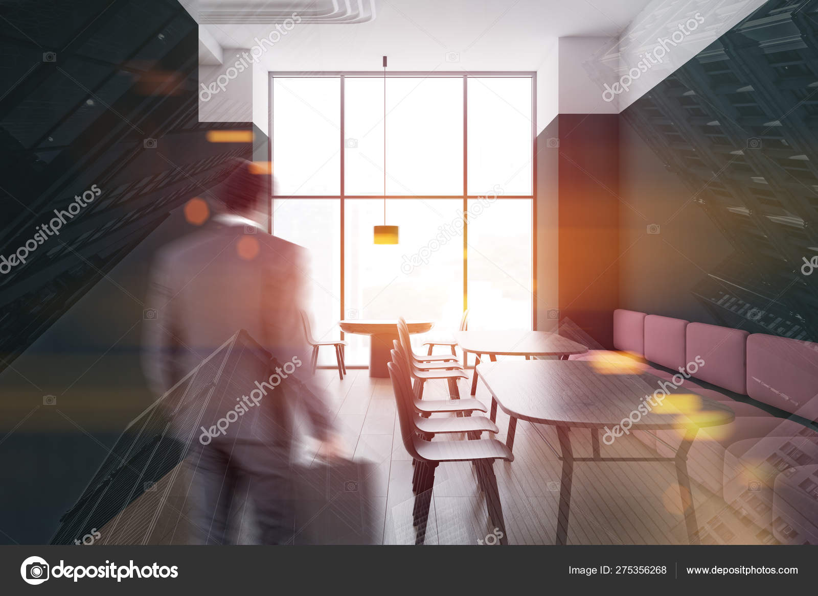 Man In Green And White Cafe With Sofas Stock Photo C Denisismagilov 275356268
