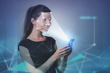 Woman with phone, face recognition technology