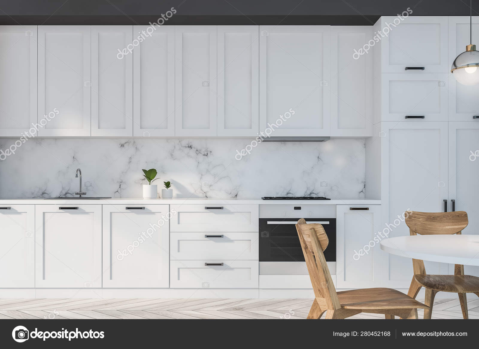 White And Marble Kitchen With Table Stock Photo C Denisismagilov 280452168