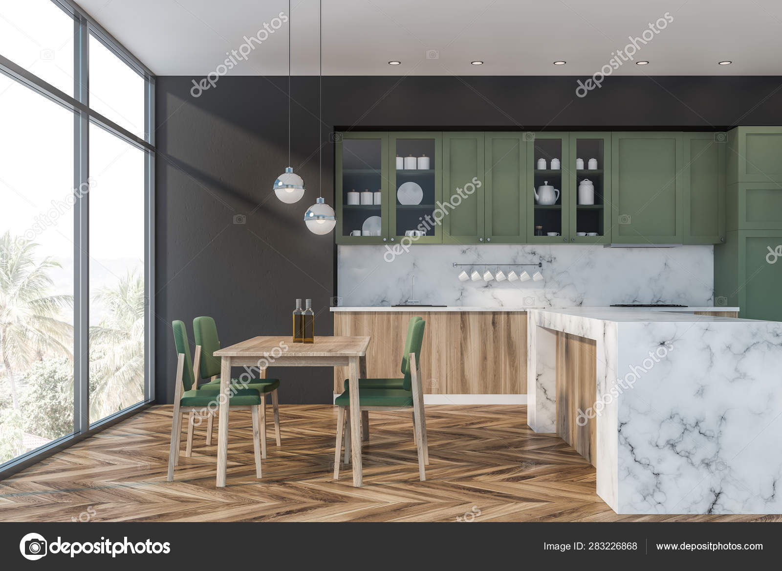 Green And Gray Kitchen Counter And Table Stock Photo C Denisismagilov 283226868