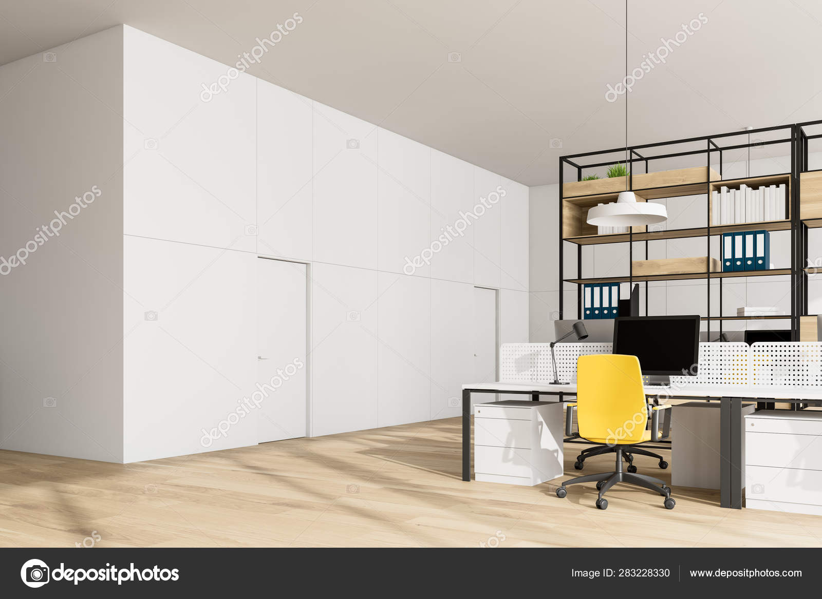 White Open Space Office Corner Bookcase And Doors Stock