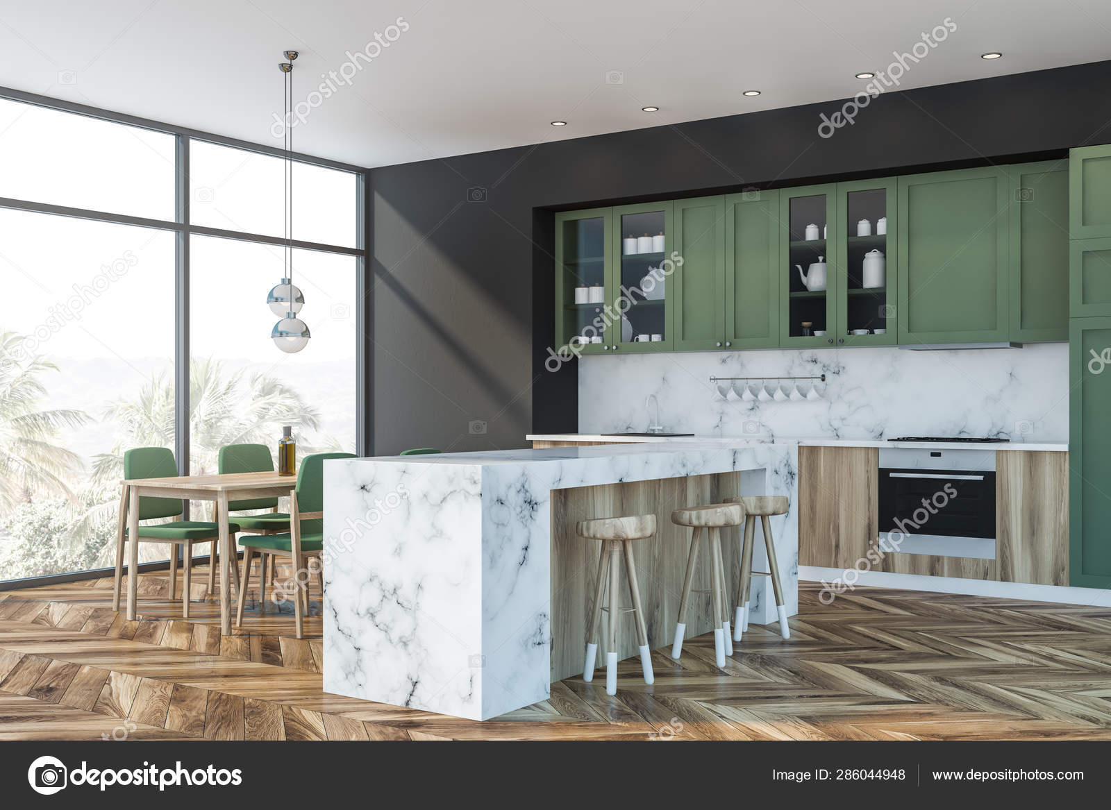 Green And Marble Kitchen Bar And Table Stock Photo C Denisismagilov 286044948