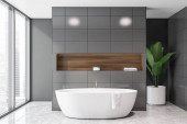 Panoramatický šedý interiér koupelny s vanou
