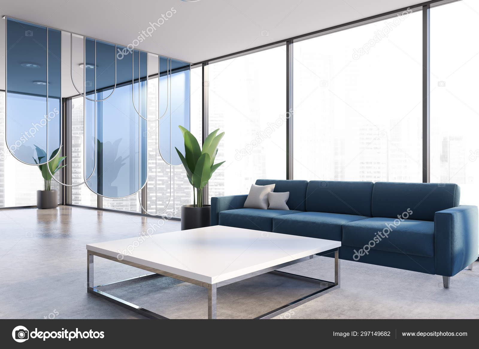 Picture of: Panoramic Office Lounge Area With Blue Couch Stock Photo C Denisismagilov 297149682