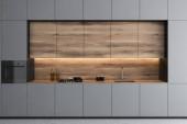 Fényképek Szürke minimalista konyha munkalapok