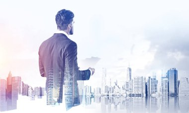 Rear view of businessman with documents standing in modern city with double exposure of skyscrapers. Concept of management and paperwork. Toned image stock vector