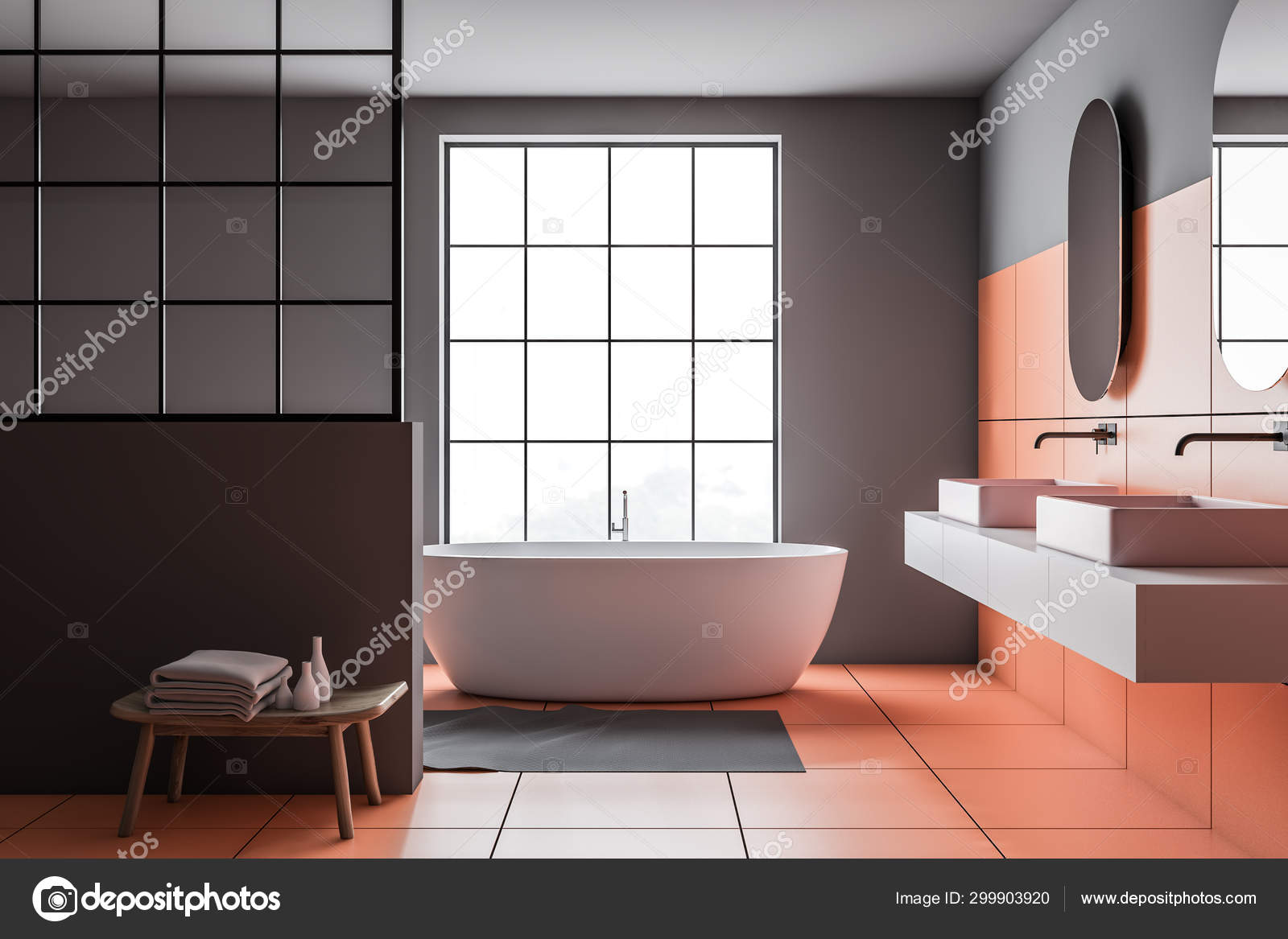 Orange And Gray Bathroom Tub And Sink Stock Photo