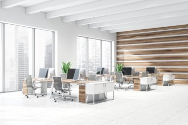 Corner of modern open space office with white and wooden walls, tiled floor, windows with cityscape and rows of wooden computer tables with black chairs. 3d rendering stock vector
