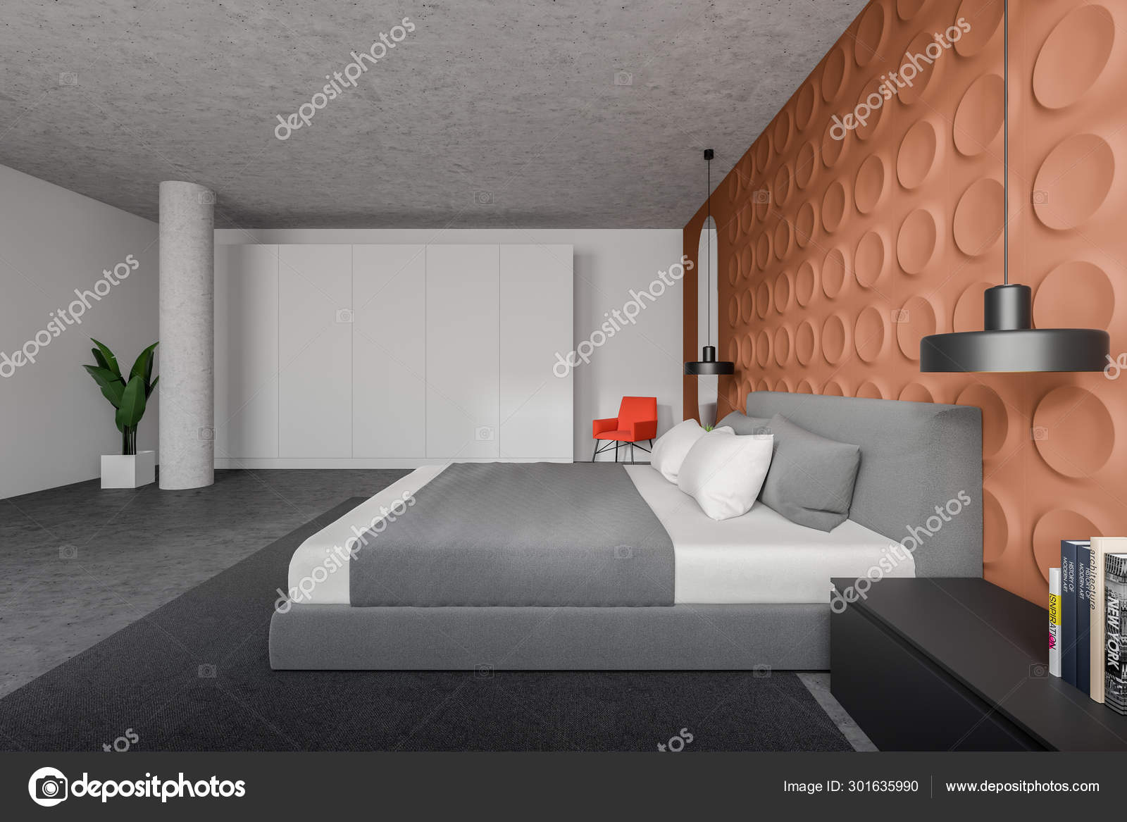 Side view of orange and white bedroom, wardrobe — Stock ...