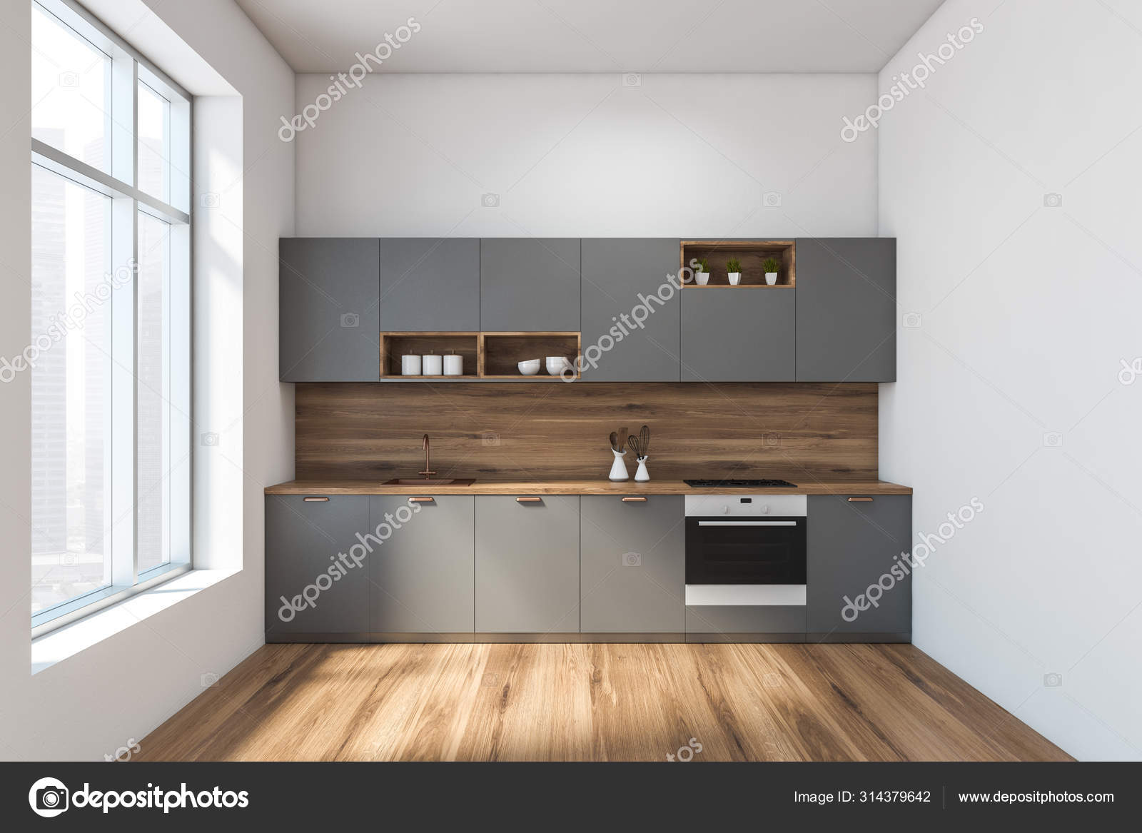 White And Wood Kitchen Gray Countertops Stock Photo Image By C Denisismagilov 314379642