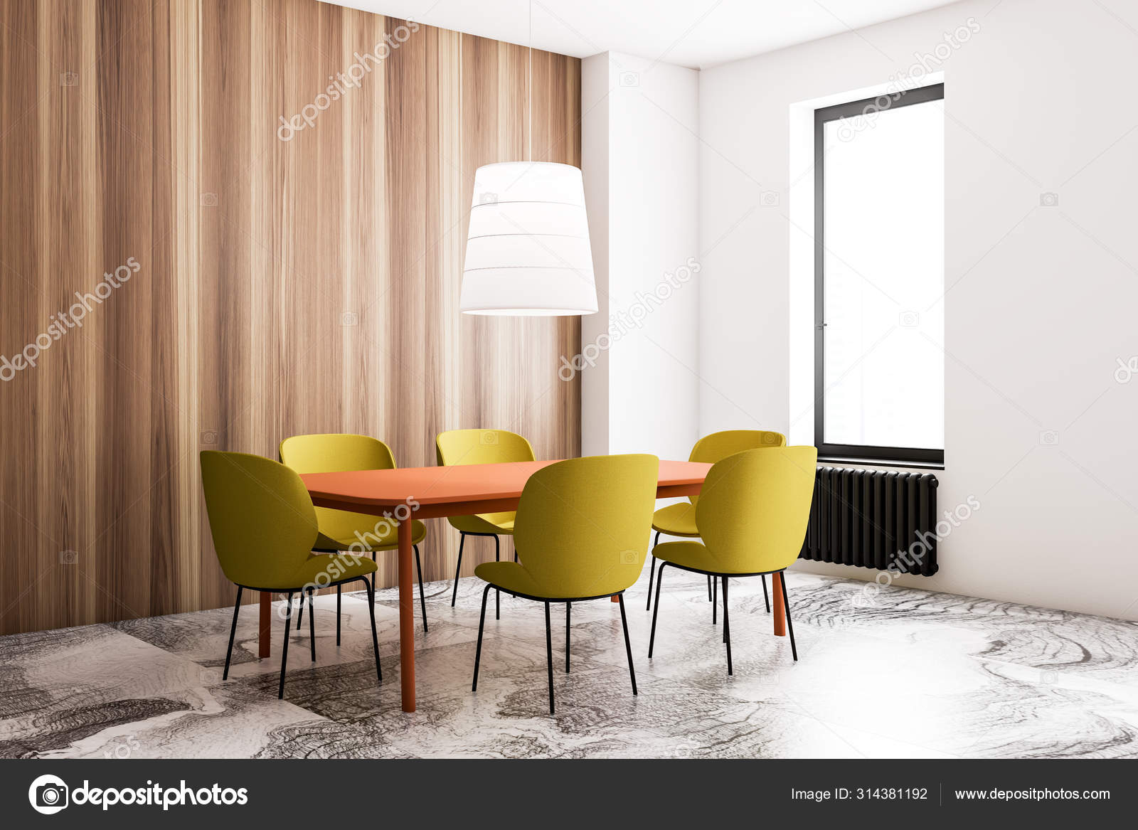 White Dining Room With Yellow Chairs, Yellow And White Dining Room