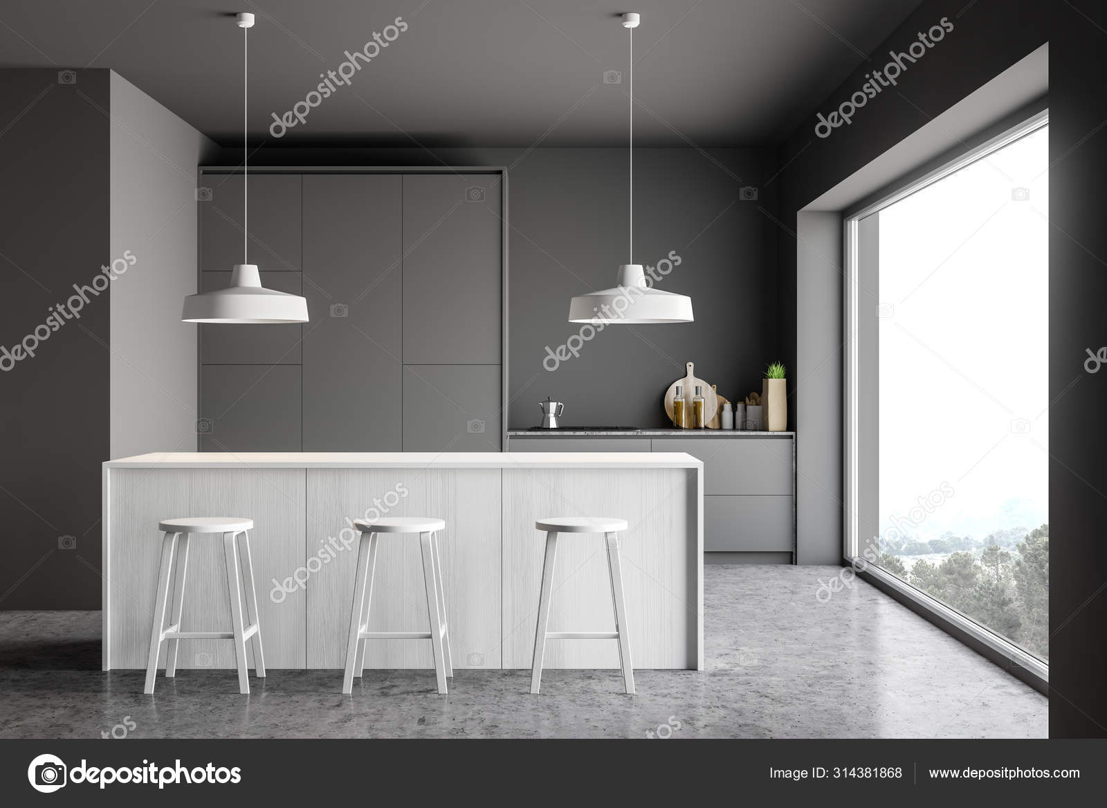 Gray Kitchen With White Bar And Stools Stock Photo Image By C Denisismagilov 314381868