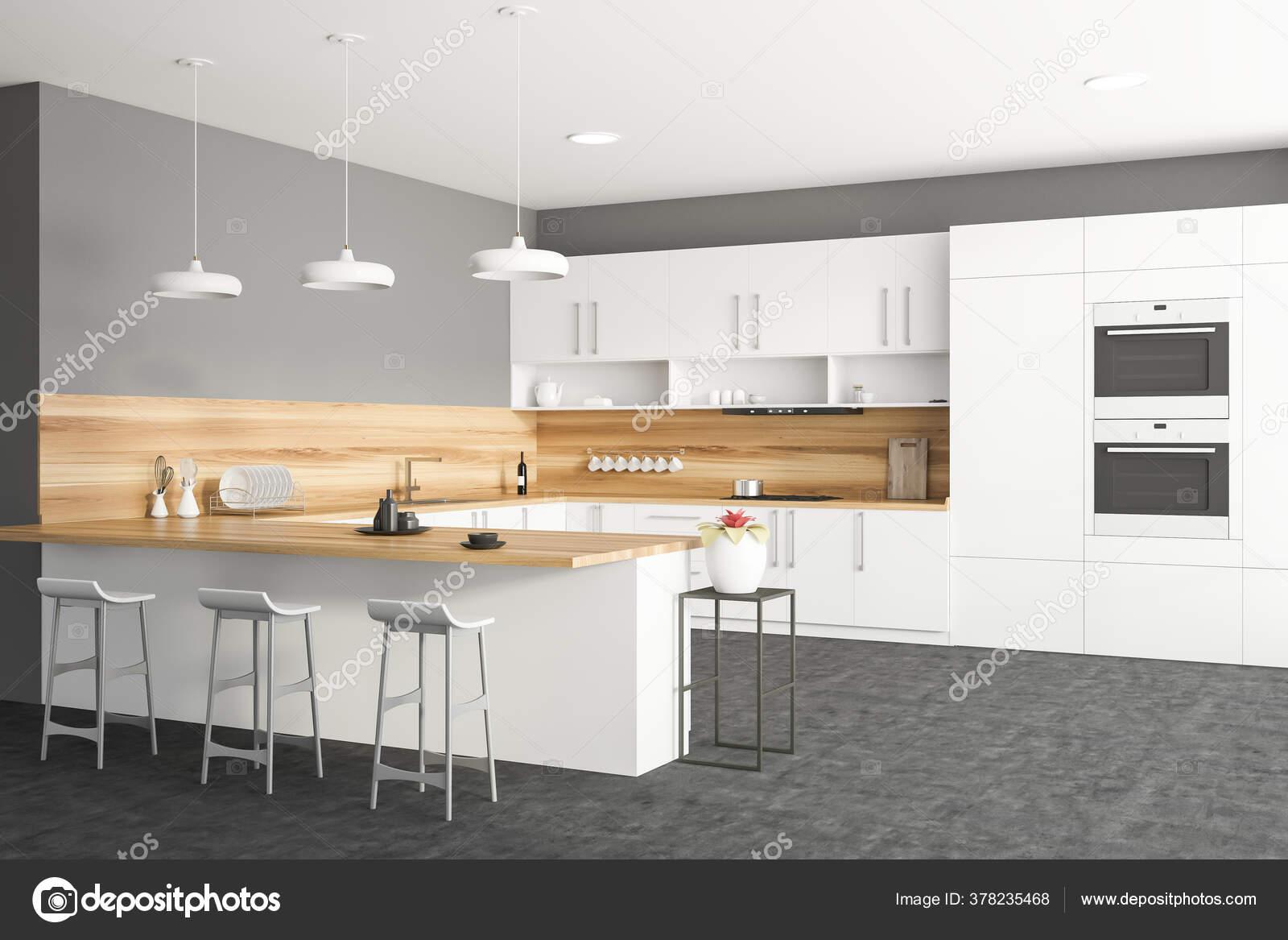 Corner Stylish Kitchen White Grey Walls White Countertops Cupboards Bar Stock Photo Image By C Denisismagilov 378235468