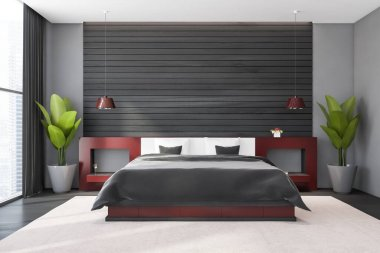 Interior of modern master bedroom with gray and wooden walls, concrete floor, comfortable king size bed with red bedside tables and window with blurry cityscape. 3d rendering stock vector