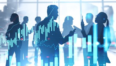 Silhouettes of business people working together in panoramic Moscow city office with double exposure of blurry financial chart. Corporate lifestyle concept. Toned image stock vector