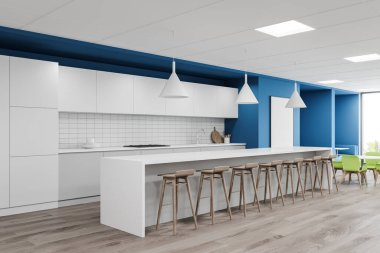 Corner of stylish cafe with bright blue and white walls, wooden floor, long white bar counter with stools and round tables with green chairs. Window with blurry tropical view. 3d rendering