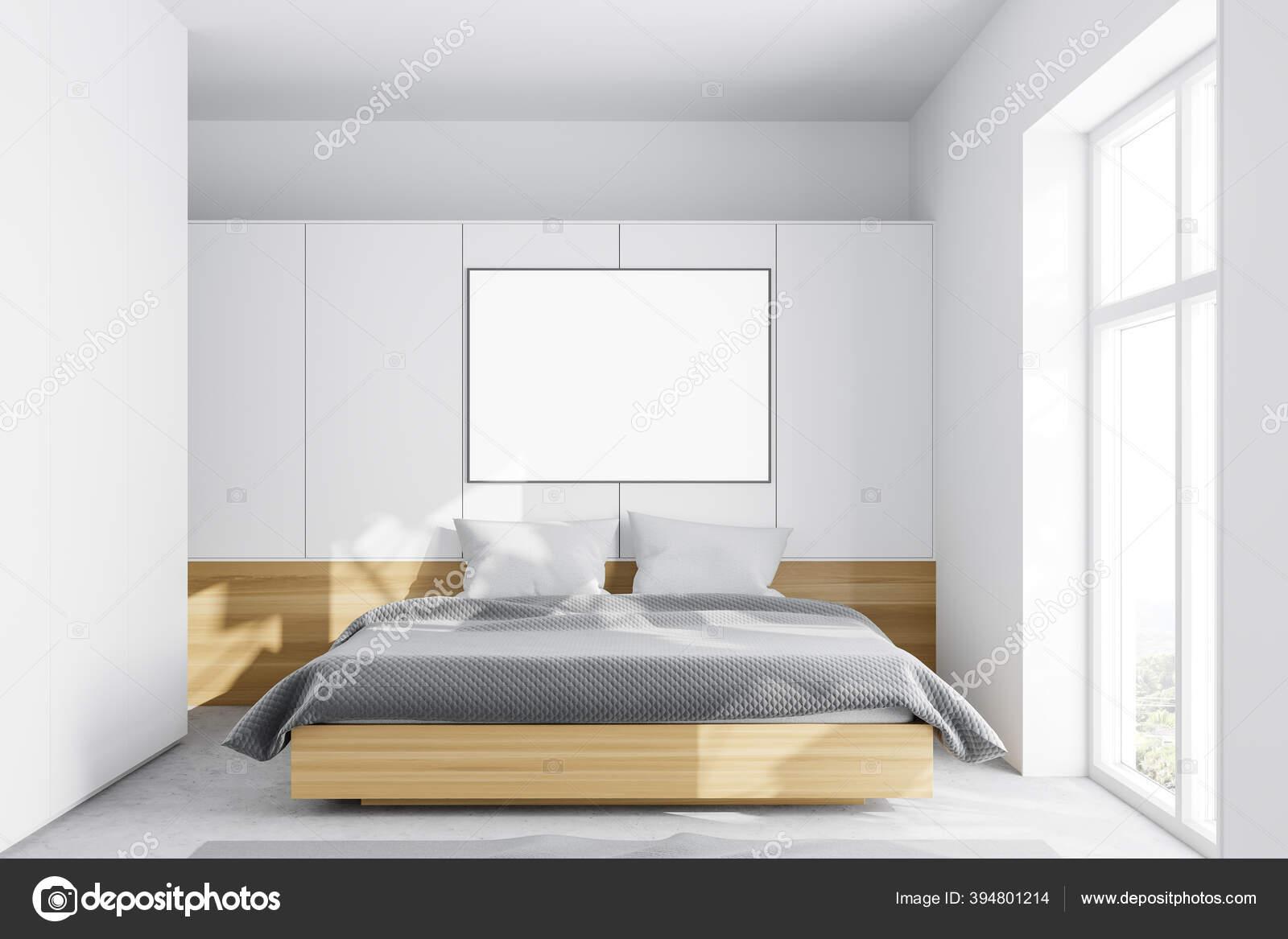 Interior Minimalistic Master Bedroom White Walls Concrete Floor Cozy King Stock Photo Image By C Denisismagilov 394801214