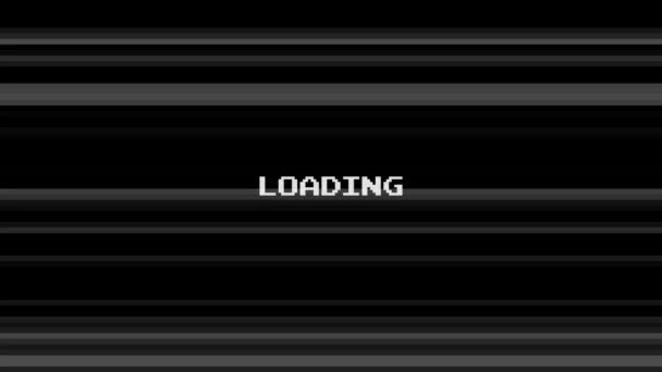 Black and white animated lines glitches background with loading inscription.