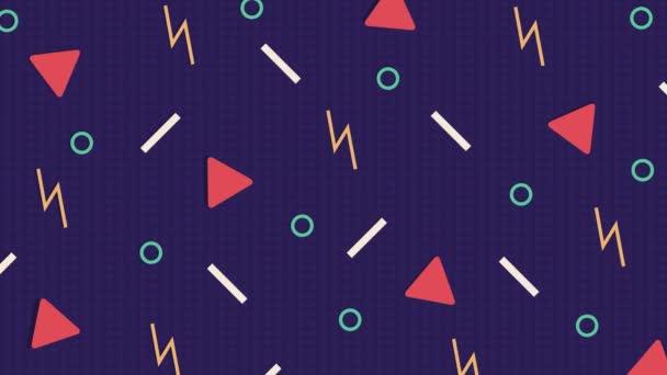 Absztrakt purplre minta háttér háromszögek, körök, vonalak és Cikcakk.