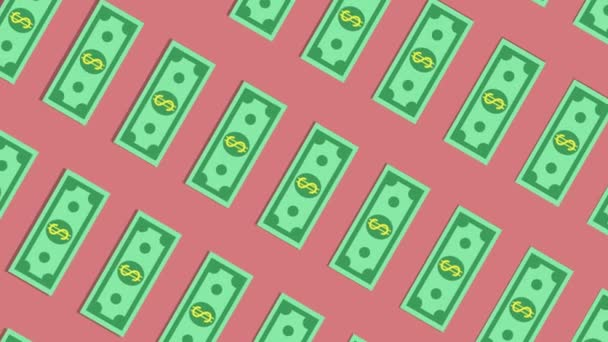 Video animace s tekoucí svislými směnkami na růžovém pozadí.