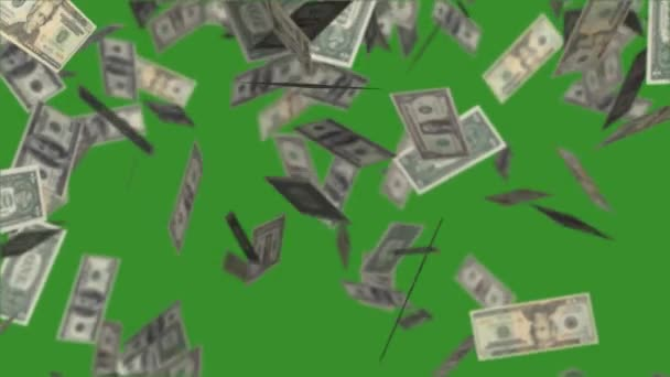 Dollars bills falling down on green background, video animation with money rain.