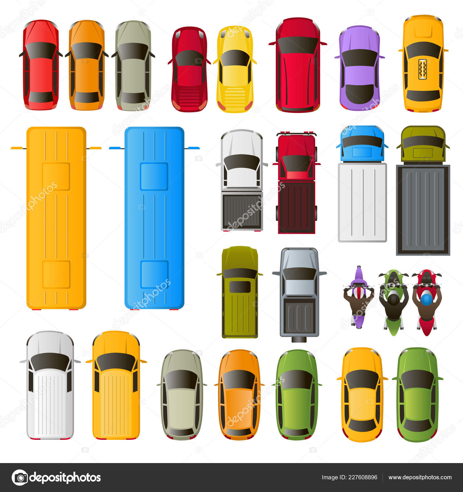 Vector Multi Colored Icons Vehicles Top View Cars Trucks