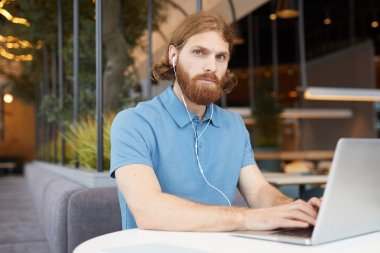 Portrait of red haired bearded man wearing headphones typing on laptop computer and looking at camera while working in cafe