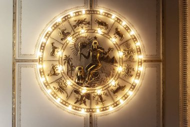 So Paulo, Brazil - February 2, 2018: Ceiling decoration with masonry symbols in a circle