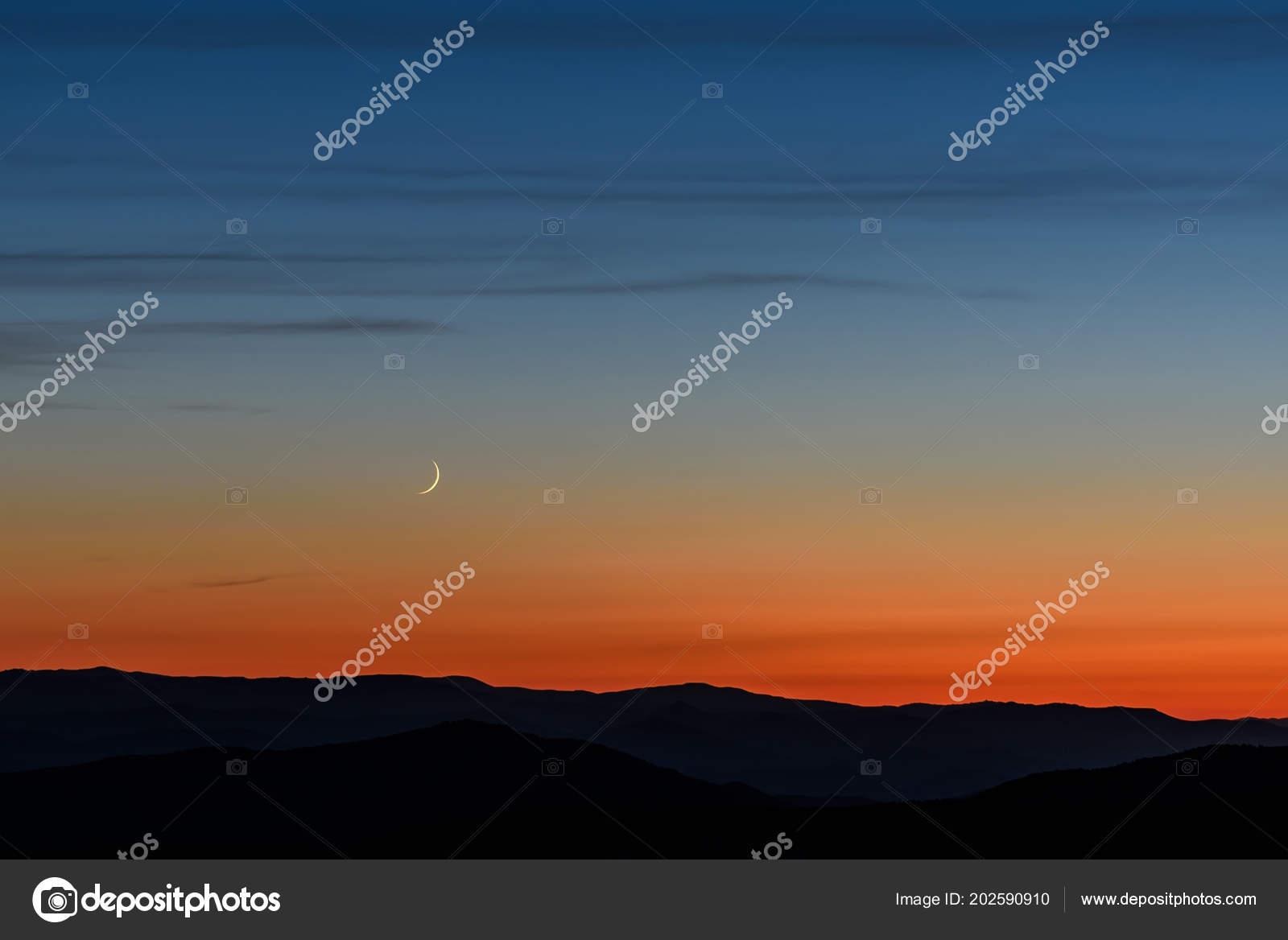 Beautiful Evening Landscape Narrow Crescent Moon Clouds Dark