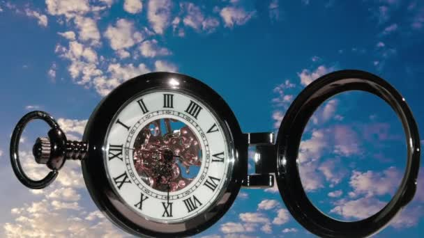 Pocket watch on water background