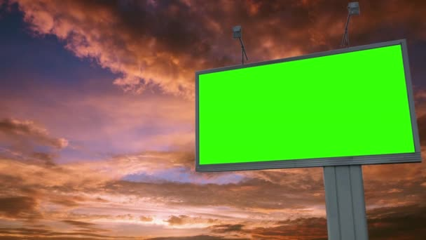 Billboard green screen chromakey on sky background