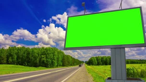 Billboard green screen chromakey near the highway
