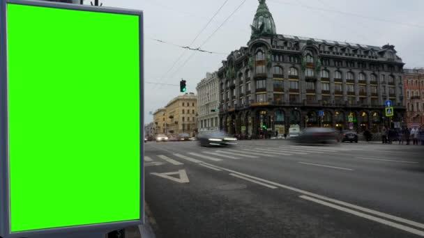 Billboard zelená obrazovka na ulicích St. Petersburg.Russia