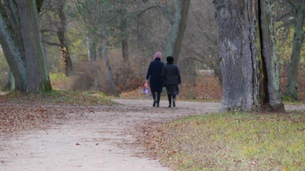 Dvě starší ženy se procházejí v podzimním parku