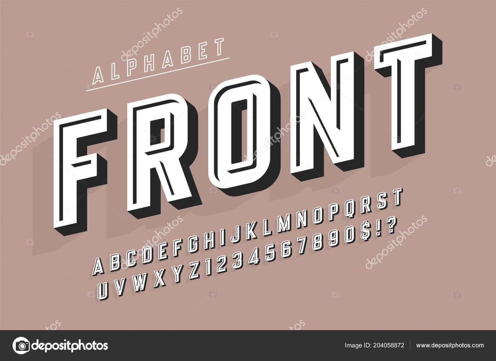 Condensed original 3d display font, alphabet, letters and number ...