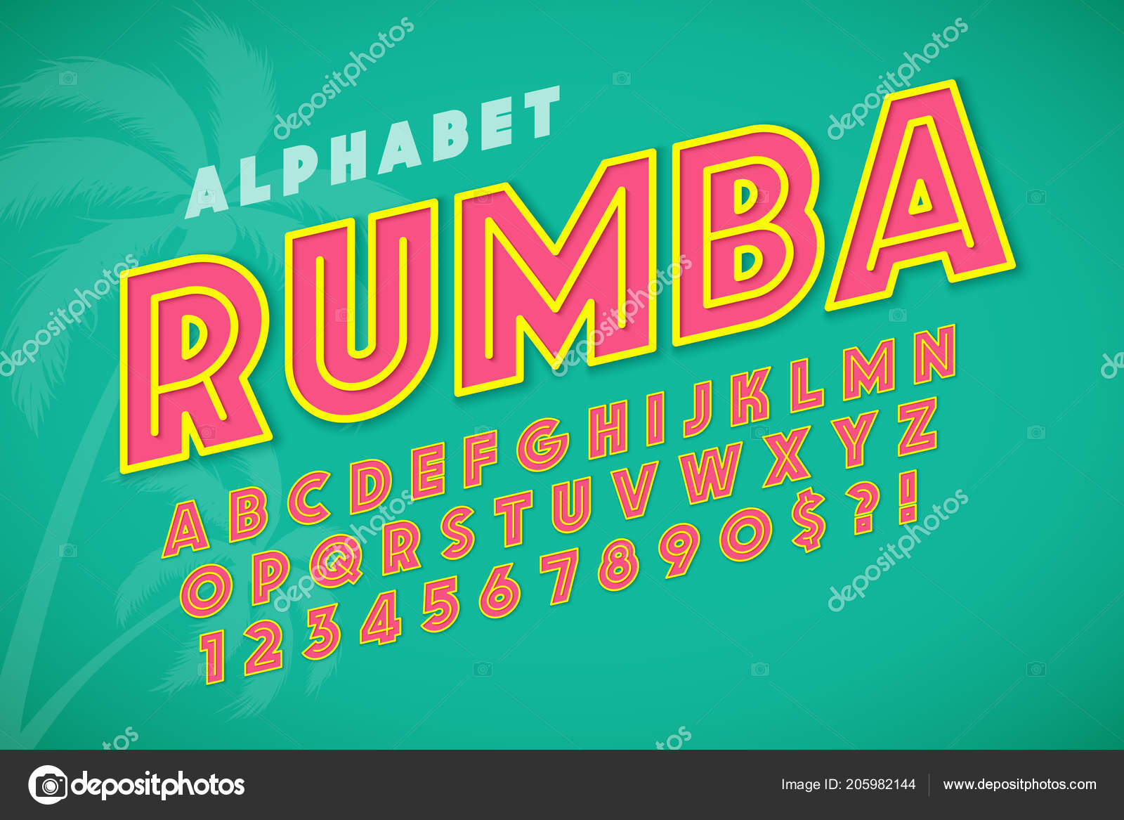 Hot summer display font design, alphabet, letters and numbers ...