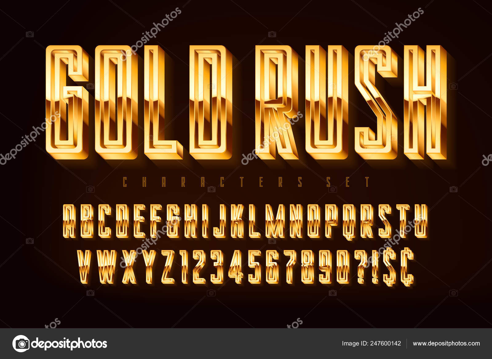 Golden 3d polished font, gold letters and numbers — Stock