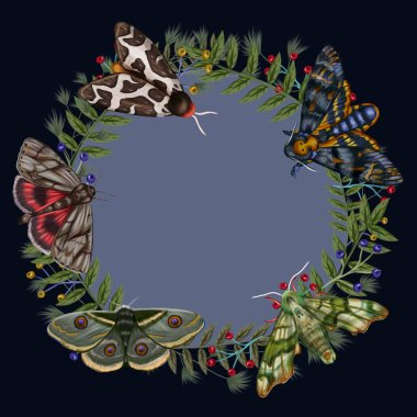 Night Butterflies floral wreath on dark background