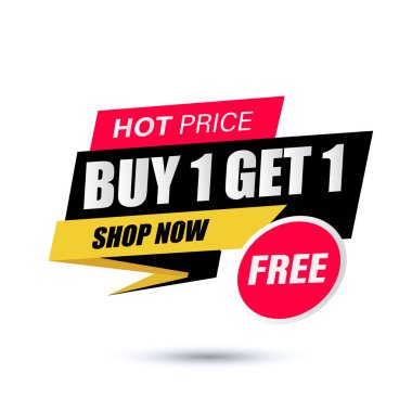 Buy 1 Get 1 Free, sale tag, banner design template, discount app icon