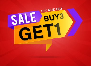 Buy 3 Get 1 Free, sale tag, banner design template, discount app icon