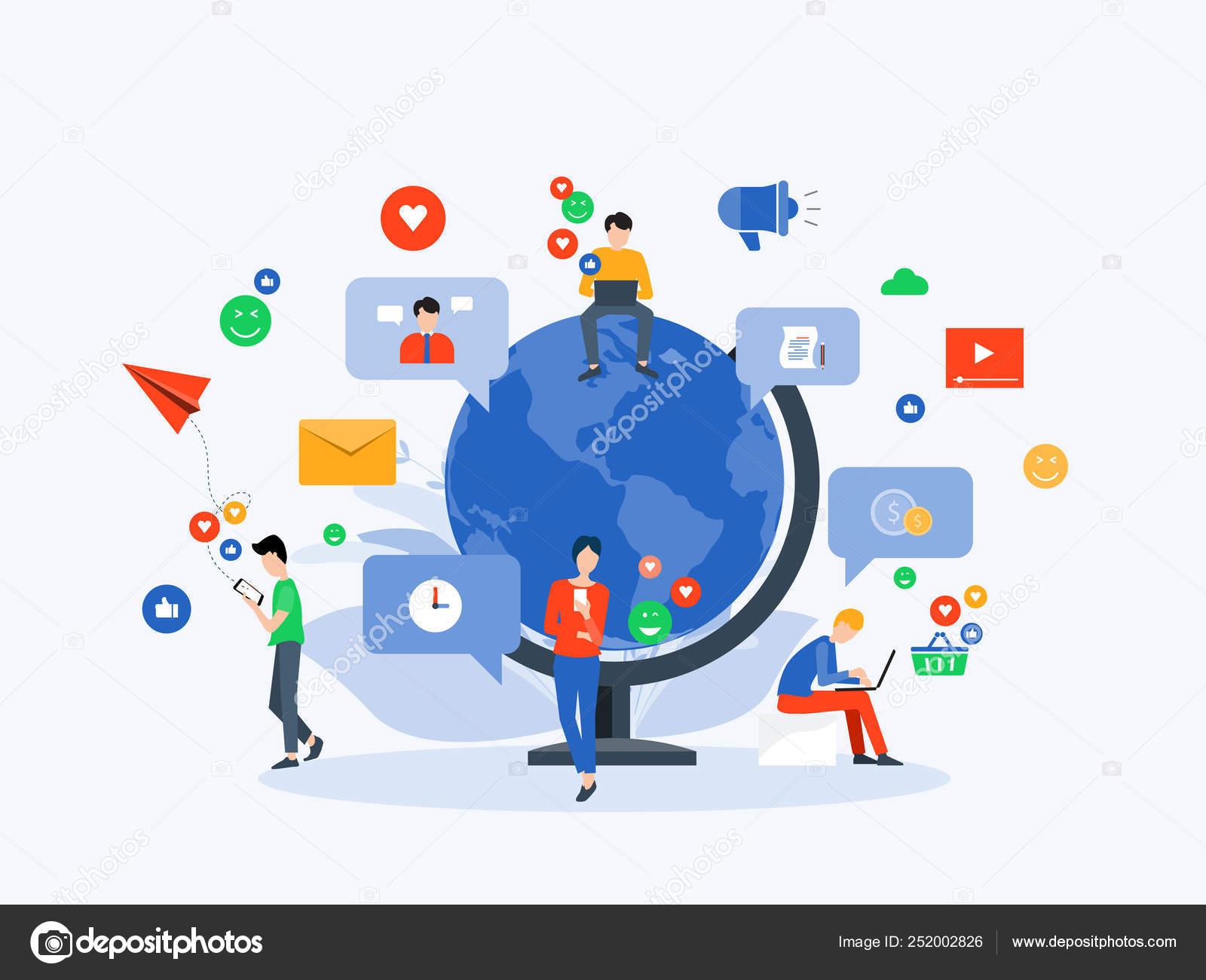 flat vector illustration social media digital marketing online connection concept stock vector c tcdesign 252002826 flat vector illustration social media digital marketing online connection concept stock vector c tcdesign 252002826
