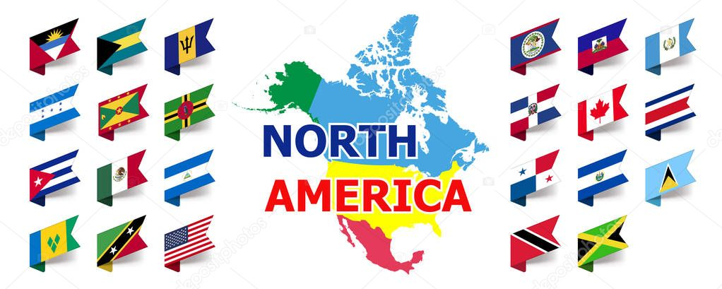 North And Central American Flag Set Complete Collection Of Flags Of All States Of North America With Map Premium Vector In Adobe Illustrator Ai Ai Format Encapsulated Postscript Eps Eps Format