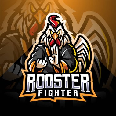 Rooster fighter esport mascot logo icon