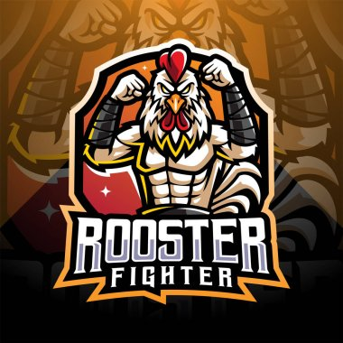 Rooster fighter esport mascot logo design icon