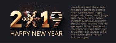 """Картина, постер, плакат, фотообои """"Счастливый Новый год темно праздничных фона. Дизайн текста 2019 золото. Вектор, приветствие иллюстрации с золотые номера и снежинка"""", артикул 220487300"""