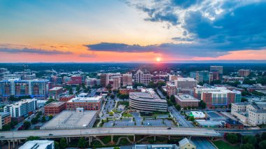 Greenville South Carolina Skyline Aerial at Sunset
