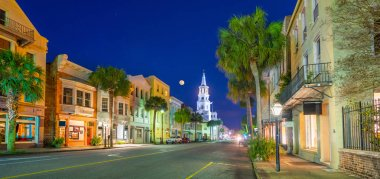 Broad Street Panorama in Charleston, South Carolina, USA.